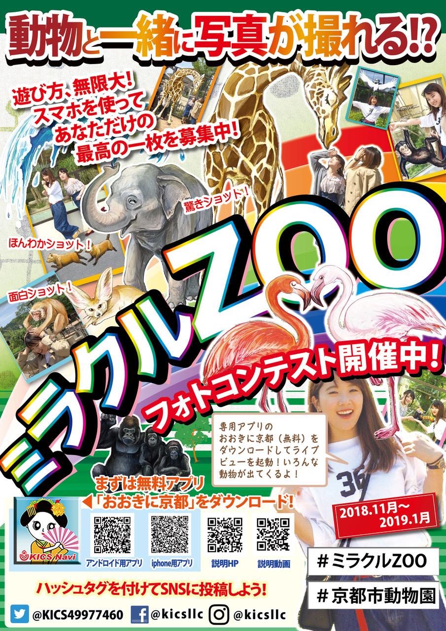 専用アプリ「おおきに京都」をで動物と一緒に写真が撮れる「ミラクルZOO フォトコンテスト」を開催中です。